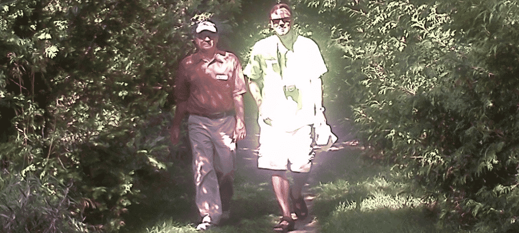 An image of Leon walking with a new friend on September 11, 2011